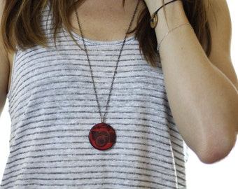 Red Camera Wood Pendant Necklace // Antique Brass Long Chain // Gift for Her