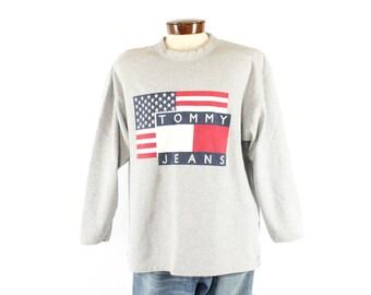 Vintage 90s Tommy Hilfiger Sweatshirt Flag Sweater Gray Knit 1990s Mens XL Large L