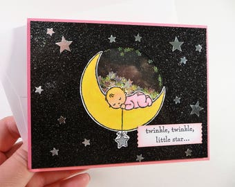 New Baby Shaker Card, baby shower card, twinkle twinkle little star, hand colored hand stamped card, interactive card, fancy baby girl card
