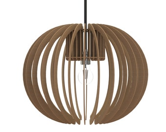 Laser cut design sphere pendant lamp, handmade wood or colour perspex acrylic by choice
