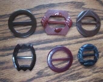 6 Vintage 1950s Belt Buckles Scarf Slides Brown Oxblood Red Early Plastics