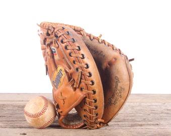 Old Vintage Leather Baseball Glove / Geo A Reach Catchers Mitt / Bill Schroeder Baseball Glove / Antique Baseball Glove / Antique Mitt Decor
