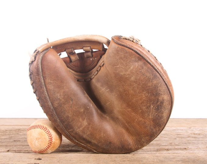 Featured listing image: Old Vintage Leather Baseball Glove / Professional Model Catchers Mitt / Baseball Glove / Antique Baseball Glove / Antique Mitt Decor