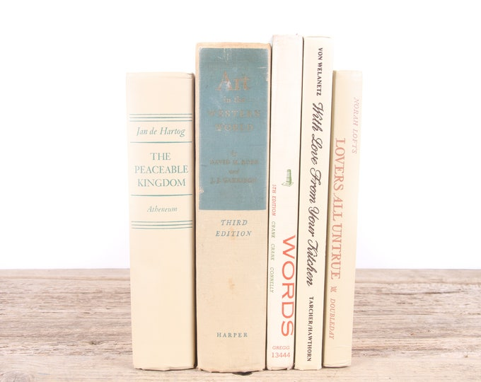 Beige Decorative Books / Old Beige Books / Antique Books Vintage Mixed Book Set / Old Books / Vintage Books / Books by Color for Decor