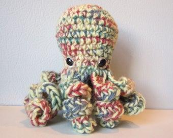 Blossom the Octopus : handmade crochet stuffed yellow and orange toy