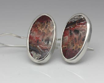 ON LAYAWAY for Maria - Crazy Lace Agate Earrings, Agate & Sterling Earrings, Artisan Earrings, Le Chien Noir, Mother's Day