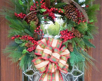 PHEASANT on EVERGREEN CHRISTMAS Wreath with Plaid Burlap Bow, Natural Christmas Wreath, Pheasant Wreath, Ranch Wreath, Nature Wreath
