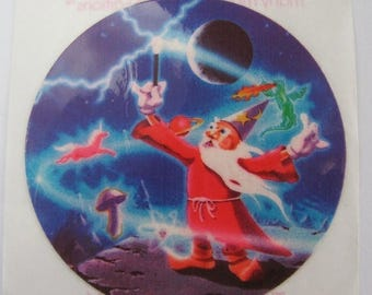 SALE Wizard and Lightning Rare Vintage Lisa Frank Sticker - 80's Sorcerer Moon Magician Magic Wand Mushroom Unicorn Dragon Collectible