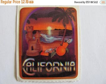 SALE California Vintage Acard Stickermania Sticker from 1984 - Sunset Scrapbook Palm Tree Ocean Retro Cali