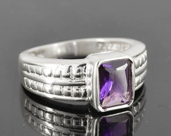 Amethyst Ring, 2.25 ct, Purple, Emerald Cut, Birthstone Ring, February, Gemstone Ring, Sterling Silver Ring, Solitaire Ring, Statement Ring
