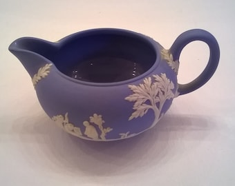 Wedgwood Blue Jasperware Creamer - Classical Motifs in White - Vintage Wedgwood Creamer - Made in England