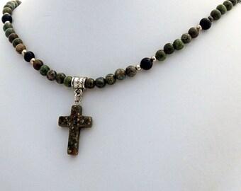 Rainforest Jasper Natural Stone Cross Black Onyx Necklace