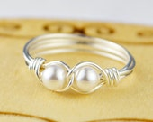 Two Pearls Infinity Ring-Sterling Silver, Yellow or Rose Gold Filled Wire Wrapped Swarovski Crystal Pearls - Size 4,5,6,7,8,9,10,11,12,13,14