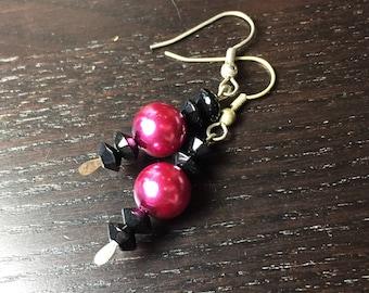 SALE!!! Hot Pink and Black Jawbreaker Pearl Dangle Earrings