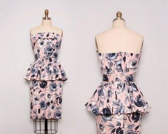 1980s Peplum Dress. Strapless Dress. Vintage Party Dress. Pink Floral Dress. Pencil Dress. Cocktail Dress. Regina Kravitz dress. Size Small.