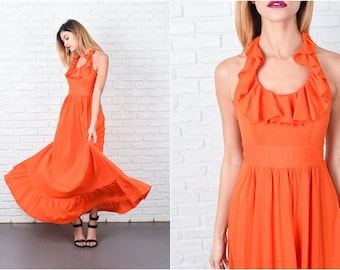 Bold Orange Dress Vintage 70s  Ruffle Backless Halter Boho Hippie Maxi XXS 8473