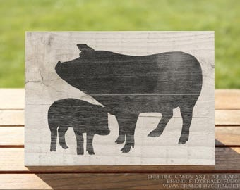 Pig Greeting Card | Farmhouse Chic Cards | A7 5x7 Folded - Blank Inside - Wholesale Available