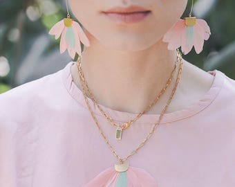 Pastel Pink Feather statement necklace by Pardes