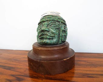 Vintage Green Stone Mayan Bust Head Sculpture Statue w/ Silver Crown, South American Mayan Decoration Green Gift