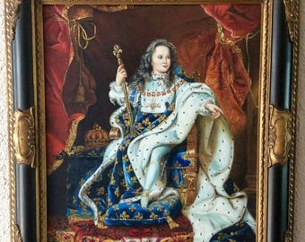 Sale Antique Vintage Oil Painting Portrait of King Louis XV ca.18th C. French Art O/C Framed