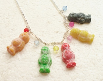 Jelly Babies Necklace.  Polymer clay.