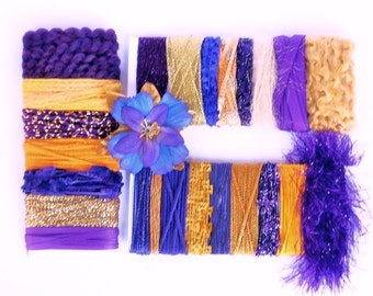 Art Yarn & Ribbon Sampler in Purple + Gold - University Of Washington Huskies Colors for Gift Wrap, Scrapbooking, Giftwrap bows, etc - A1B