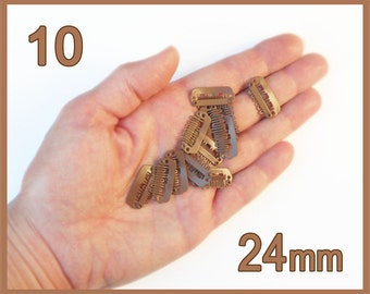 10 Tiny Baby Bow Clips - 24mm Light-Med Brown - 23mm Baby Hair Clip, Wig Clips - Weft Clips - Toupee Clips - Comb Clips - Extra Small