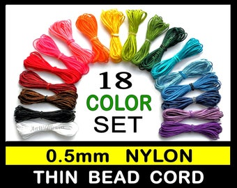 0.5mm Nylon Bead Cord - Set of 18 Colors - Thin Nylon Cording - .5mm Beading String - stronger than C-lon