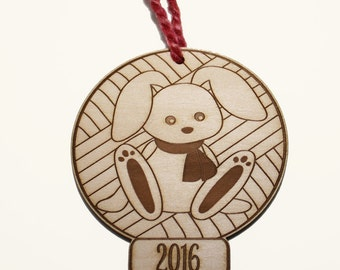 Bunny Ornament Yarn and Knitter, Christmas 2016 Laser Cut Wood