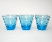 Hazel Atlas Azure Blue Capri Dots Skol Old Fashioned Set of 3 Glass Tumblers