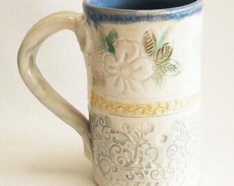 ceramic floral coffee mug 16oz  stoneware 16B093