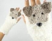 Fox Terrier Fingerless Gloves ~ Handmade