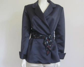 Bob Mackie / Neiman Marcus / Bob Mackie Jacket / 80s Evening Wear / Peplum Jacket / Black Beaded Jacket / Designer /