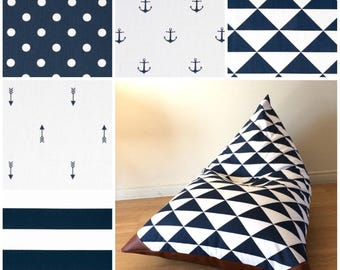 Choose Your Fabric! Kids Bean Bag - Pouf - Navy and White - Printed Canvas and Leatherette Anchor - Arrows - Stripes - Dots - Triangles