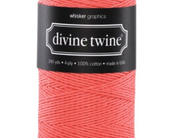 Coral Bakers Twine - 240 Yards, Divine Twine, Coral String, Bakers Twine, Baby Shower, Wedding, DIY Craft Supplies