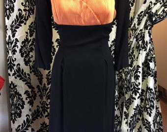 50's Black Rayon Pencil Dress W/ Peach Breastplate