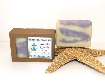 Lavender Castile Handmade Soap - 100% All Natural Soap - Gentle Soap - Artisan Soap - Pure Essential Oils - Lavender Soap - Palm Free Soap