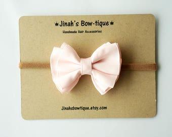 Gathered Hair Bow -Icy Pink- Hair Clip or Nylon Headband