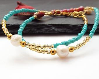 Gold Turquoise Bracelet - Wrap Around Bracelet - Tassel Bracelet - Best Friend Bracelet -  Seed Beads Bracelet - Best Friend Gift