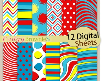 "ON SALE Dr Seuss digital background12""x12"",  Dr Seuss kids birthday party paper pack, No.292/2 printable background, Instant download"