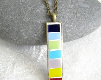 SALE - Mosaic Pendant - Stained Glass Window Panes -  Jewelry Necklace