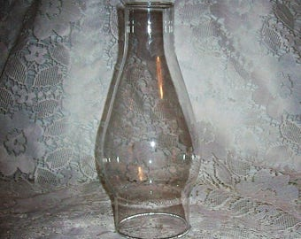 "Vintage Clear Glass Chimney Replacement Globe 7 5/8"" Tall Only 6 USD"