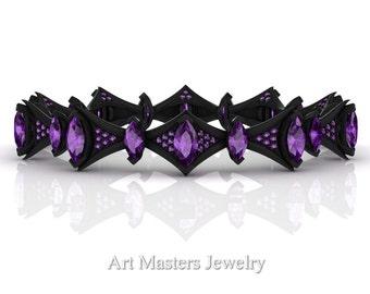 Savage 14K Black Gold 15.0 Ct Marquise Amethyst Art Nouveau Bridal Bracelet R438B-14KBGAM