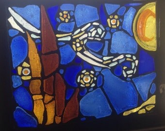 "Recycled glass mosaic Van Gogh starry night 11 1/2""x9 1/2"""