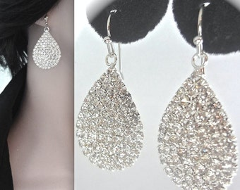 SALE- Crystal teardrop earrings - BLING - Sparkling pave crystals - Bridal jewelry - French ear wires - Bridesmaids earrings, Gift ~ Sharp -