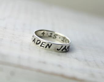 Sterling Silver 4mm Rings with Inside Stamping- Stackable Rings- Personalized Rings- Hand Stamped Rings- Mommy Ring