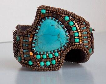 Bracelet, Tibetan turquoise gemstone, Cuff, Ammonite, Bead Embroidery, Trending jewelry,Free Shipping, Seed bead bracelet,Bronze