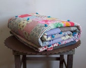 Vintage patchwork quilt cotton hand made cabin quilt clean ready to use men kids sturdy quilt