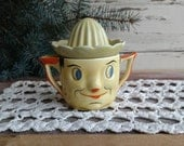 Antique Reamer of a Cartoon Man Face - Vintage Collectible Kitchen Utensil, Collectible Pottery Nymph, Kitchen Juice Reamer, Lemon Yellow
