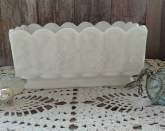 Mid Century White Milkglass Planter - Retro Milkglass, White Art China Planter, Baby Nursery  Glass, Bath Time + Nursery Organizing Decor